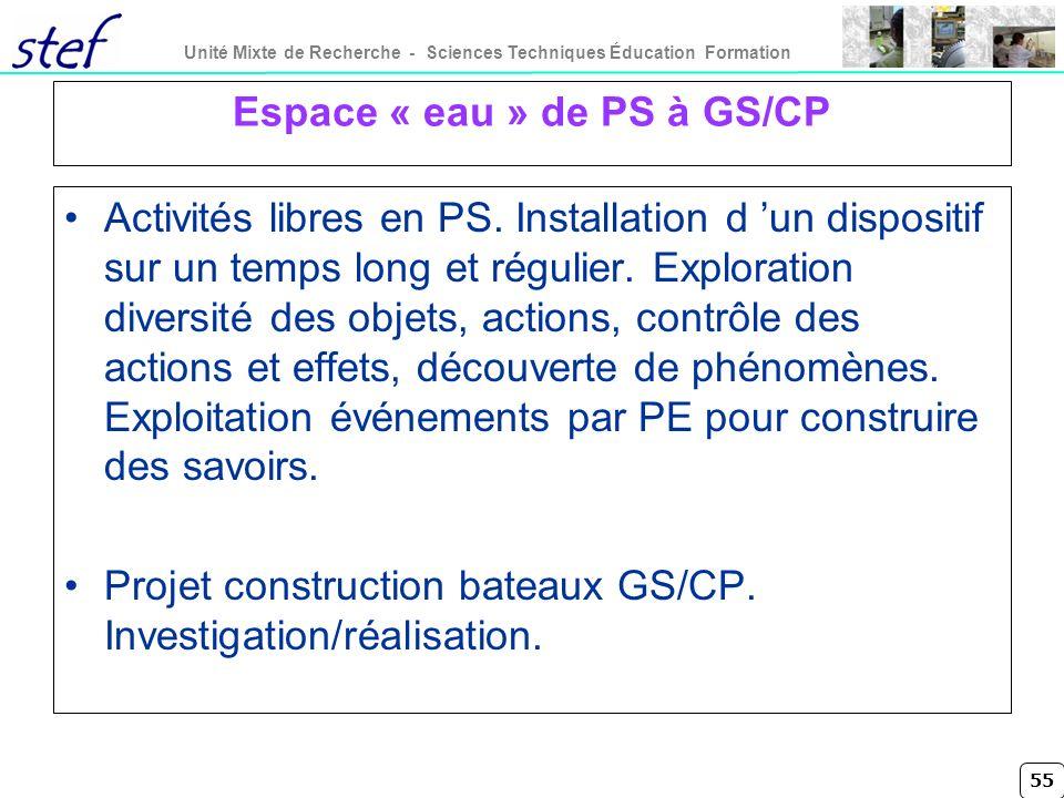 55 Unité Mixte de Recherche - Sciences Techniques Éducation Formation Espace « eau » de PS à GS/CP Activités libres en PS. Installation d un dispositi
