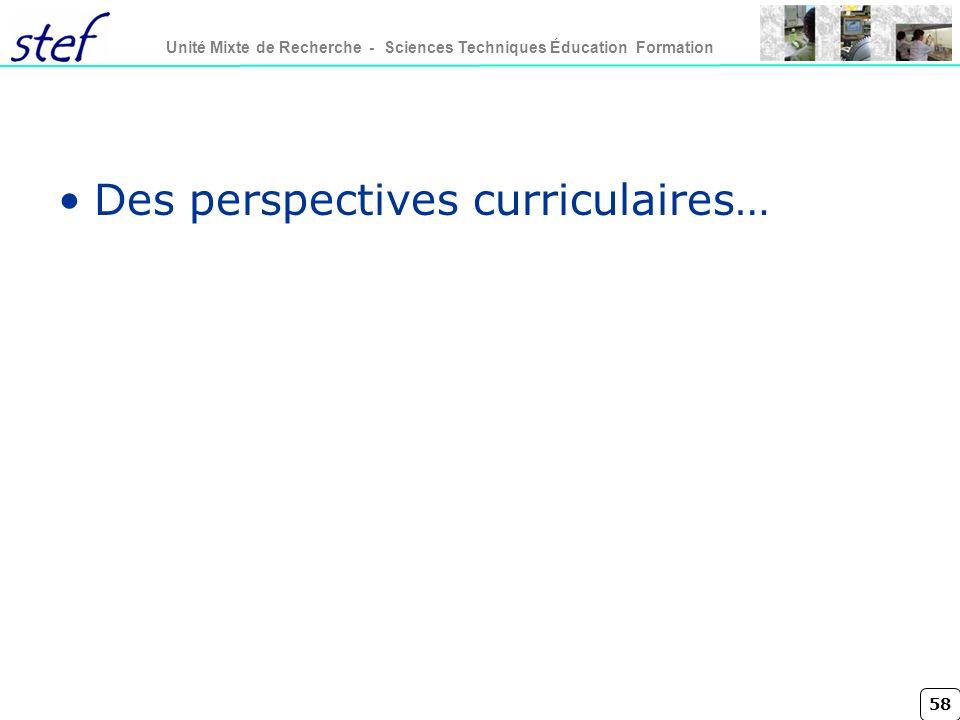 58 Unité Mixte de Recherche - Sciences Techniques Éducation Formation Des perspectives curriculaires…