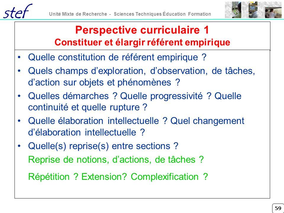 59 Unité Mixte de Recherche - Sciences Techniques Éducation Formation Perspective curriculaire 1 Constituer et élargir référent empirique Quelle const