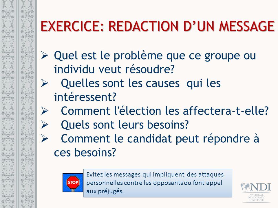 EXERCICE: REDACTION DUN MESSAGE Quel est le problème que ce groupe ou individu veut résoudre? Quelles sont les causes qui les intéressent? Comment l'é