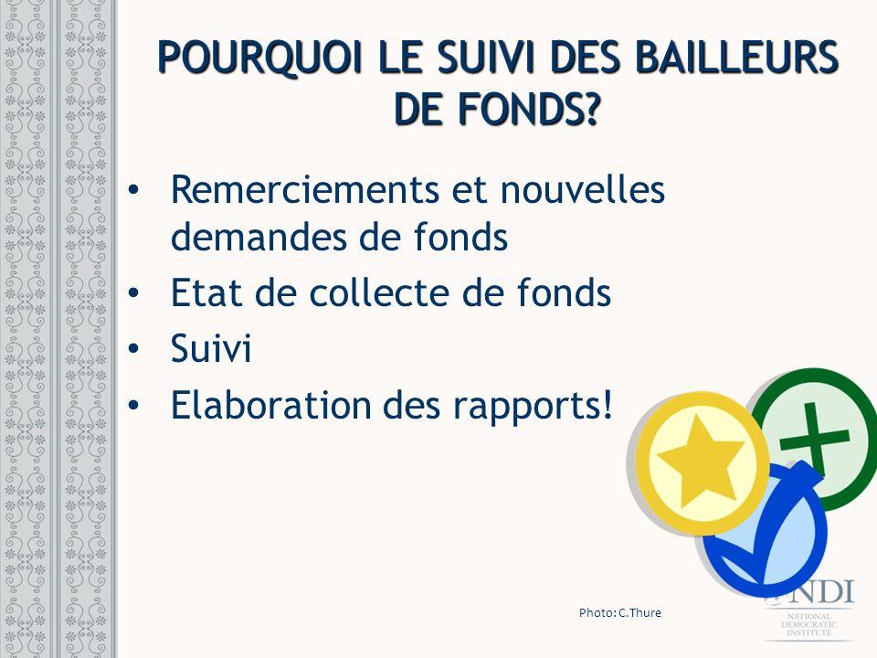 POURQUOI LE SUIVI DES BAILLEURS DE FONDS? Remerciements et nouvelles demandes de fonds Etat de collecte de fonds Suivi Elaboration des rapports! Photo