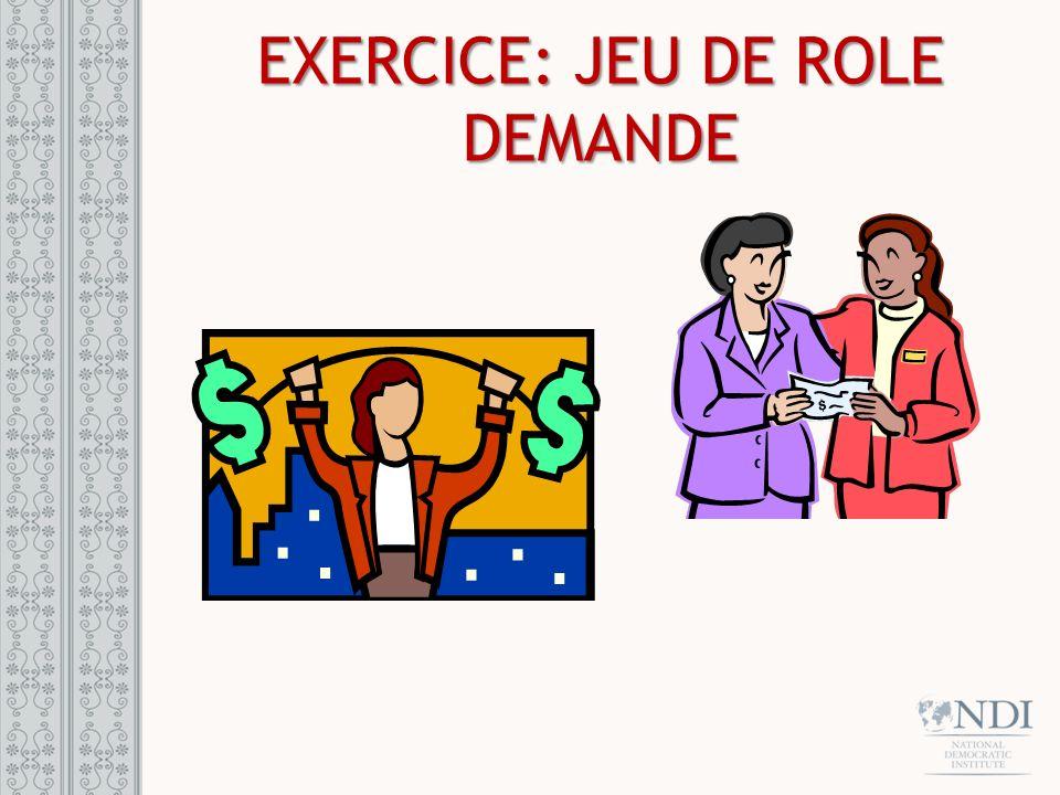 EXERCICE: JEU DE ROLE DEMANDE