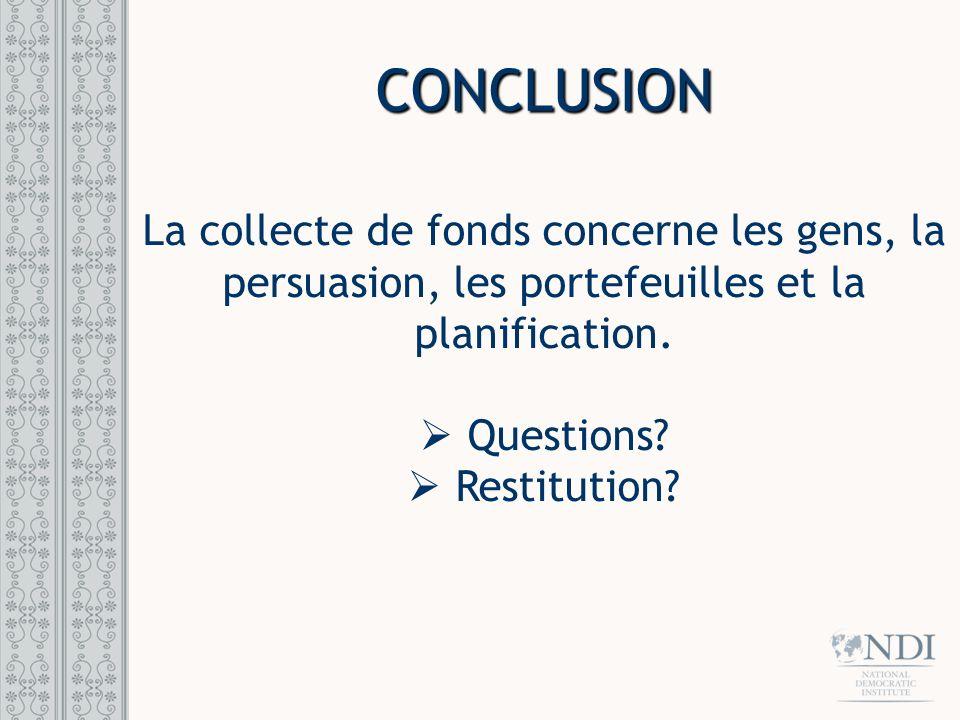CONCLUSION La collecte de fonds concerne les gens, la persuasion, les portefeuilles et la planification. Questions? Restitution?