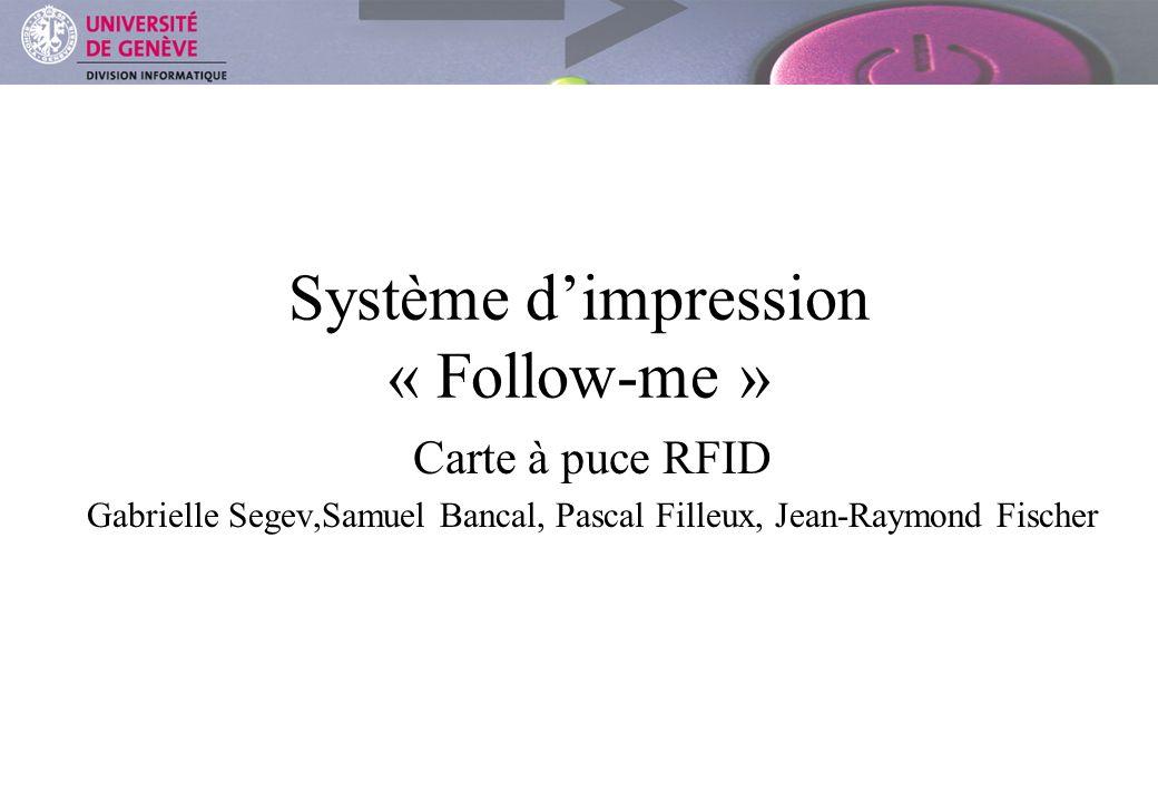 DIVISION INFORMATIQUE Système dimpression « Follow-me » Carte à puce RFID Gabrielle Segev,Samuel Bancal, Pascal Filleux, Jean-Raymond Fischer
