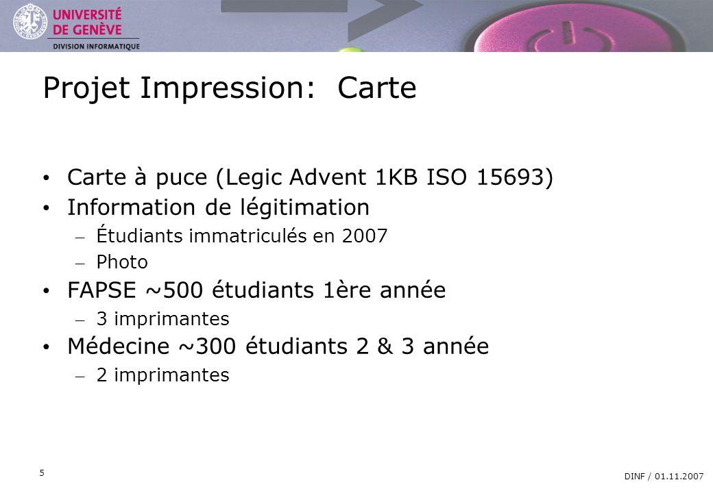 DIVISION INFORMATIQUE DINF / 01.11.2007 5 Projet Impression: Carte Carte à puce (Legic Advent 1KB ISO 15693) Information de légitimation – Étudiants i
