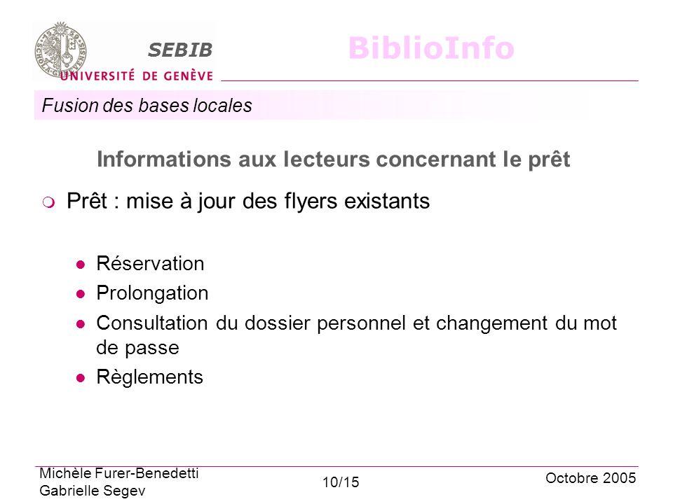 Fusion des bases locales SEBIB BiblioInfo Informations aux lecteurs concernant le prêt Prêt : mise à jour des flyers existants Réservation Prolongatio