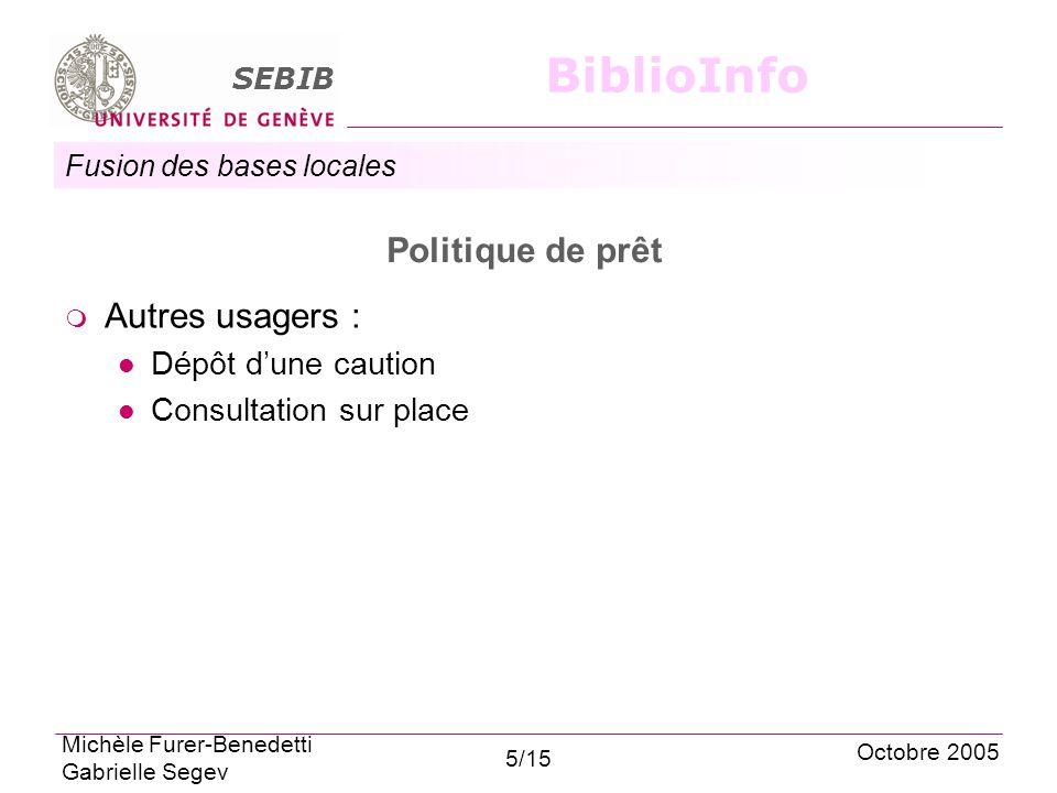 Fusion des bases locales SEBIB BiblioInfo Politique de prêt Autres usagers : Dépôt dune caution Consultation sur place Octobre 2005 Michèle Furer-Benedetti Gabrielle Segev 5/15