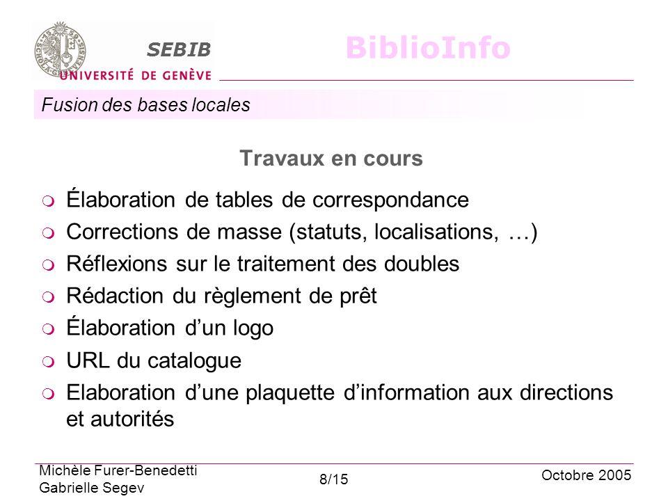 Fusion des bases locales SEBIB BiblioInfo Travaux en cours Élaboration de tables de correspondance Corrections de masse (statuts, localisations, …) Ré