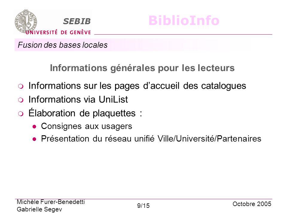 Fusion des bases locales SEBIB BiblioInfo Informations générales pour les lecteurs Informations sur les pages daccueil des catalogues Informations via