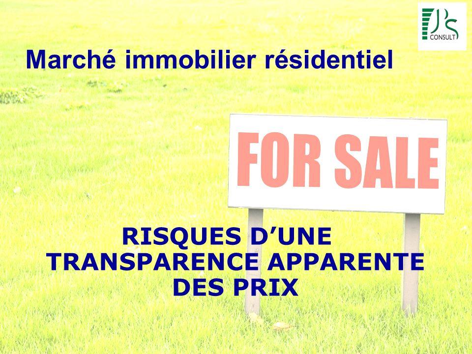 Marché immobilier résidentiel RISQUES DUNE TRANSPARENCE APPARENTE DES PRIX
