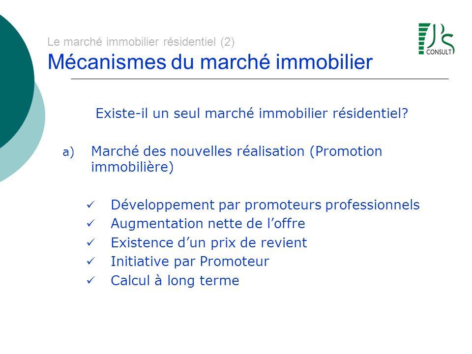 Le marché immobilier résidentiel (2) Mécanismes du marché immobilier Existe-il un seul marché immobilier résidentiel? a) Marché des nouvelles réalisat