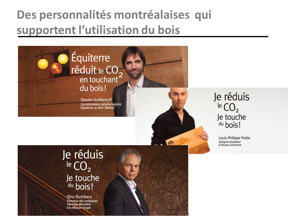 Des personnalités montréalaises qui supportent lutilisation du bois