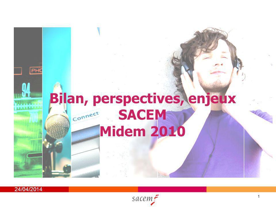 24/04/2014 1 Bilan, perspectives, enjeux SACEM Midem 2010