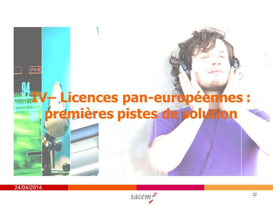 24/04/2014 22 IV– Licences pan-européennes : premières pistes de solution