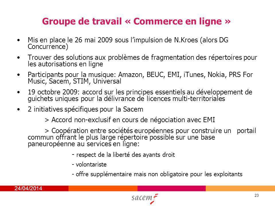 24/04/2014 23 Groupe de travail « Commerce en ligne » Mis en place le 26 mai 2009 sous limpulsion de N.Kroes (alors DG Concurrence) Trouver des soluti