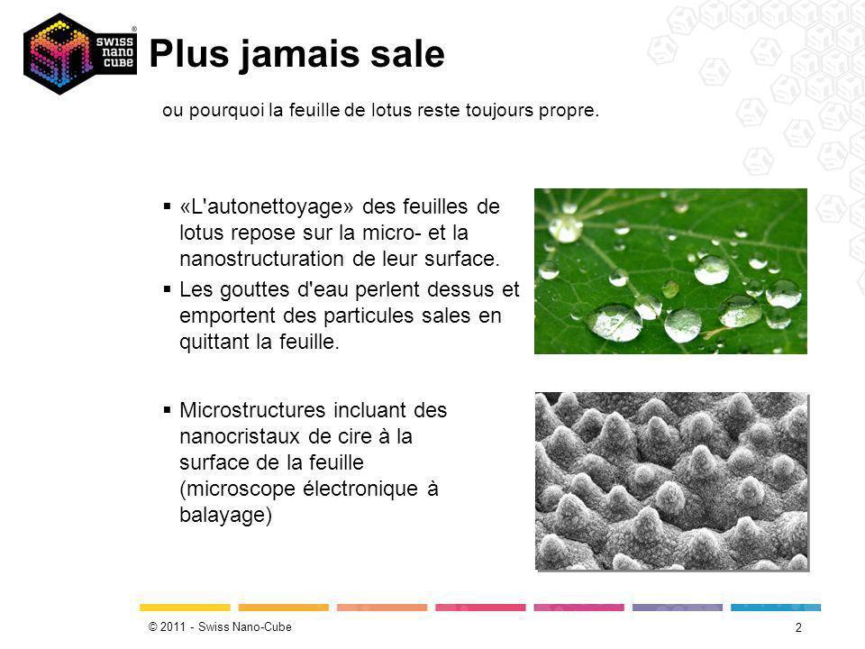 © 2011 - Swiss Nano-Cube Plus jamais sale 3 Source: www.youtube.com/watch?v=pzGunZ1-POw ou pourquoi la feuille de lotus reste toujours propre.
