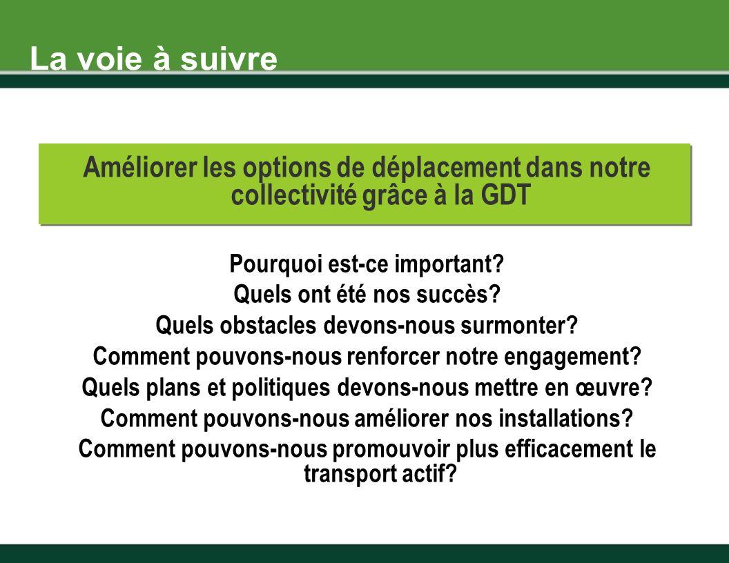 Améliorer les options de déplacement dans notre collectivité grâce à la GDT Pourquoi est-ce important.