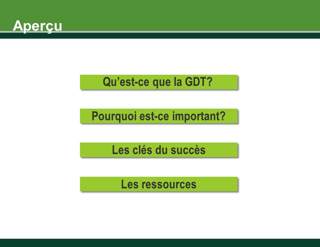Aperçu Pourquoi est-ce important Quest-ce que la GDT Les clés du succès Les ressources
