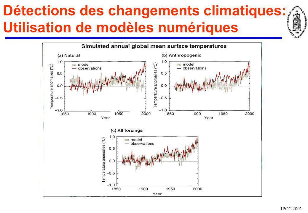 Détections des changements climatiques: Utilisation de modèles numériques IPCC 2001