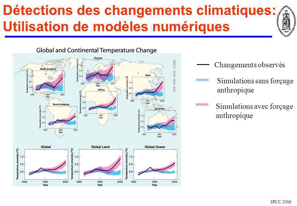 Détections des changements climatiques: Utilisation de modèles numériques IPCC 2006 Changements observés Simulations sans forçage anthropique Simulati