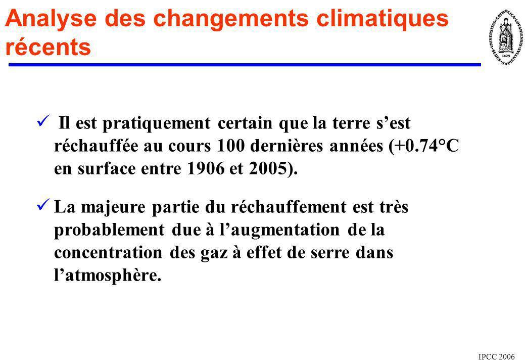 Analyse des changements climatiques récents IPCC 2006 Il est pratiquement certain que la terre sest réchauffée au cours 100 dernières années (+0.74°C