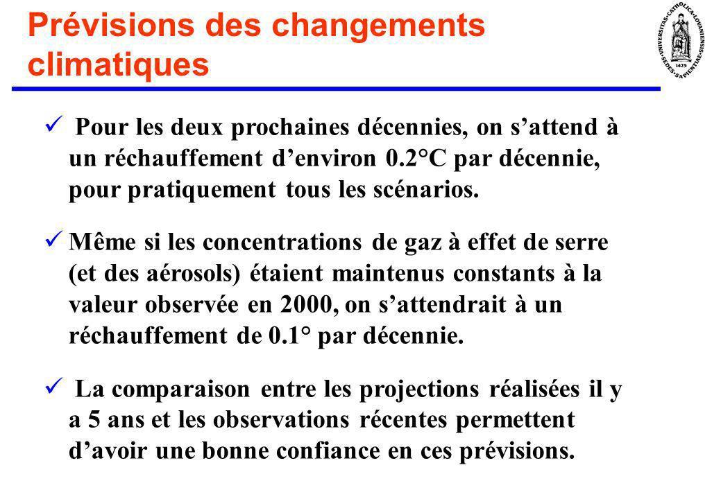 Prévisions des changements climatiques Pour les deux prochaines décennies, on sattend à un réchauffement denviron 0.2°C par décennie, pour pratiquemen