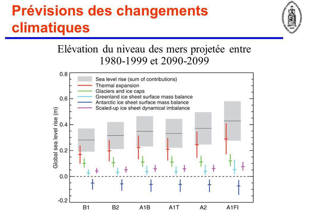 Prévisions des changements climatiques Elévation du niveau des mers projetée entre 1980-1999 et 2090-2099