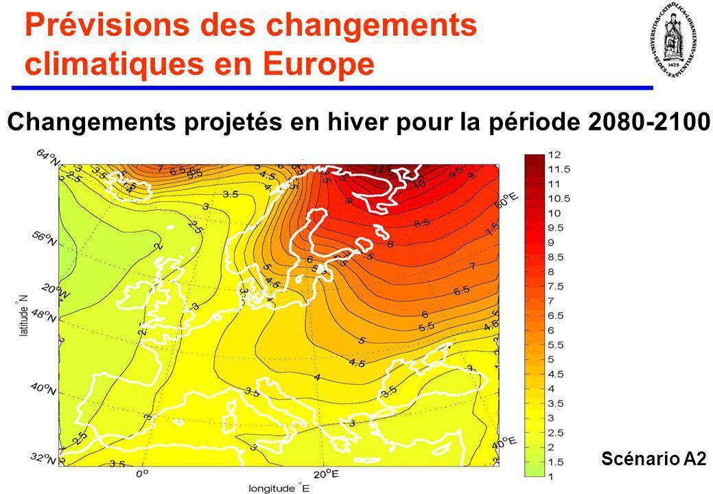 Prévisions des changements climatiques en Europe Changements projetés en hiver pour la période 2080-2100: Scénario A2