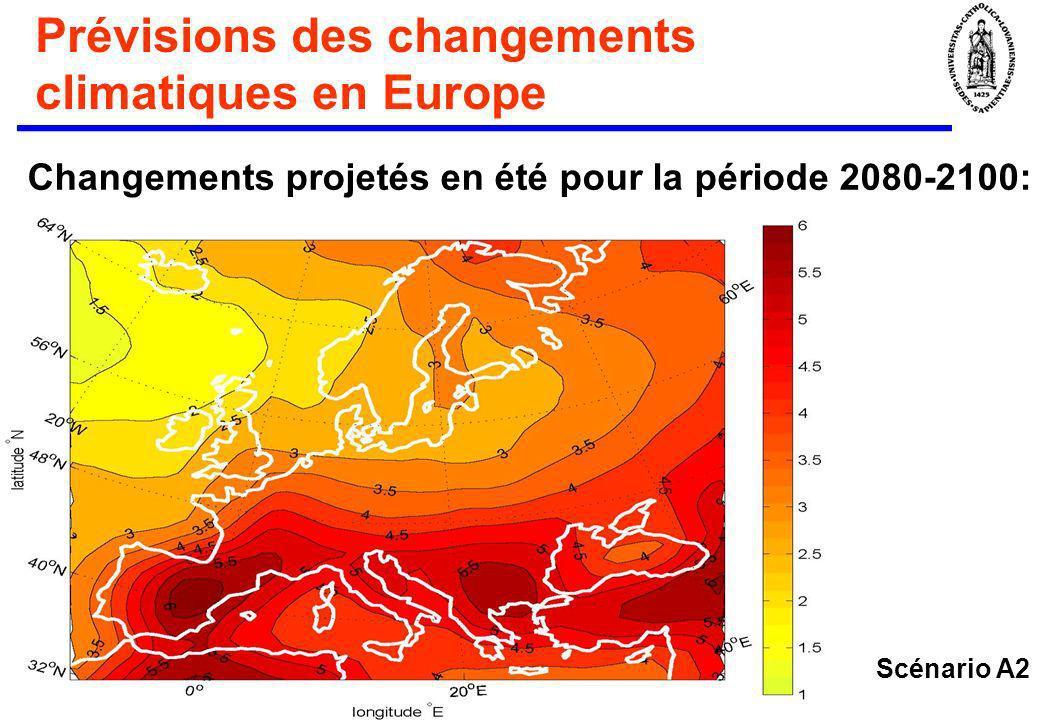 Prévisions des changements climatiques en Europe Changements projetés en été pour la période 2080-2100: Scénario A2