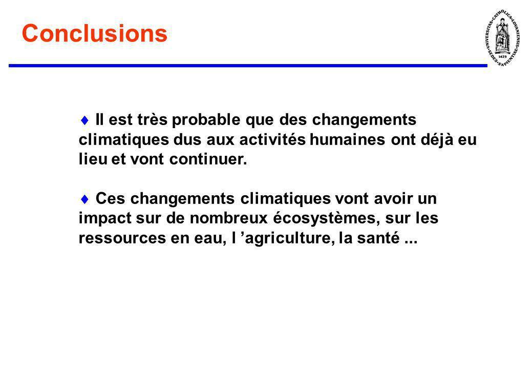 Conclusions Il est très probable que des changements climatiques dus aux activités humaines ont déjà eu lieu et vont continuer. Ces changements climat