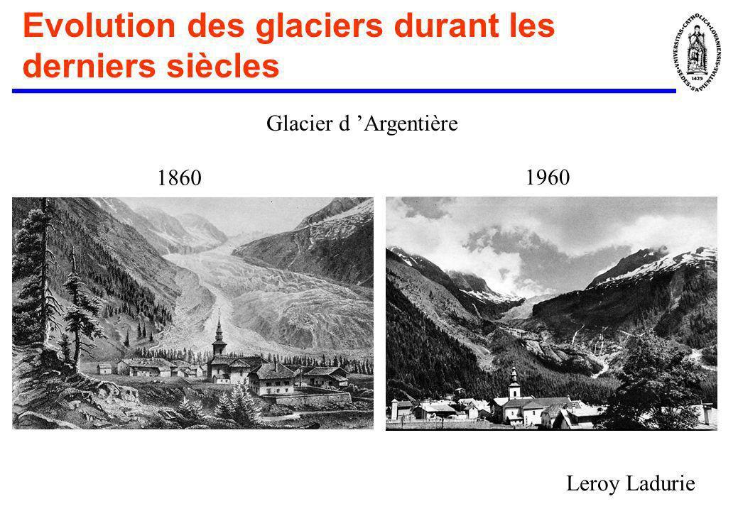 Evolution des glaciers durant les derniers siècles Glacier d Argentière 1860 1960 Leroy Ladurie