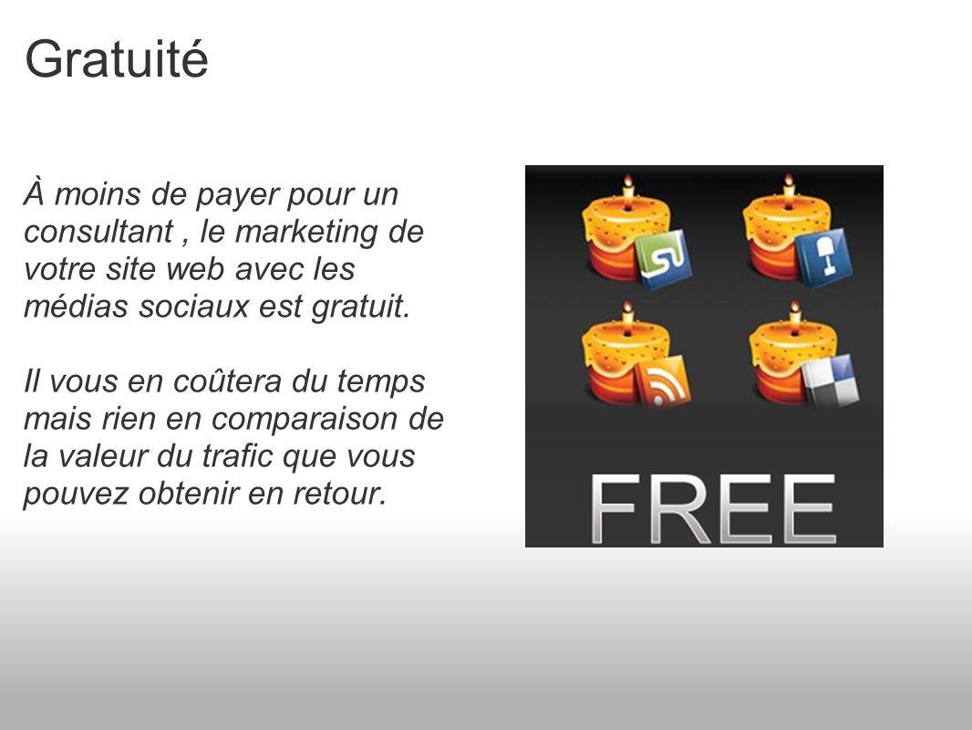 Gratuité À moins de payer pour un consultant, le marketing de votre site web avec les médias sociaux est gratuit.