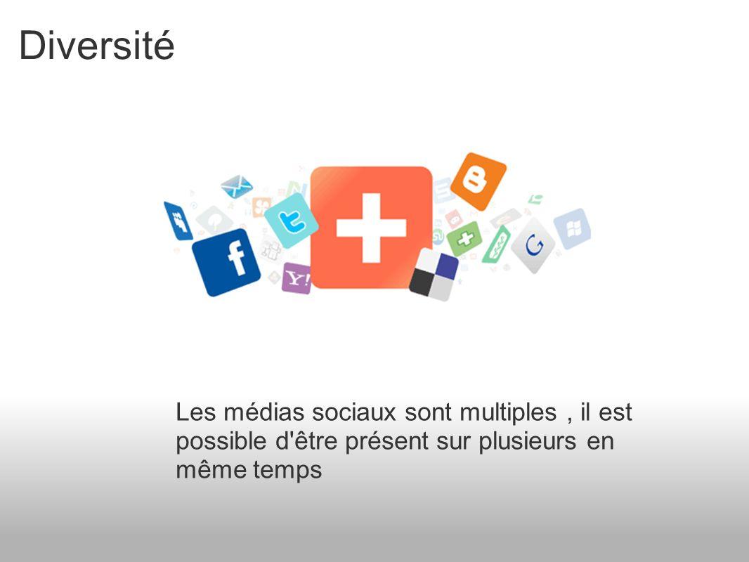 Diversité Les médias sociaux sont multiples, il est possible d être présent sur plusieurs en même temps