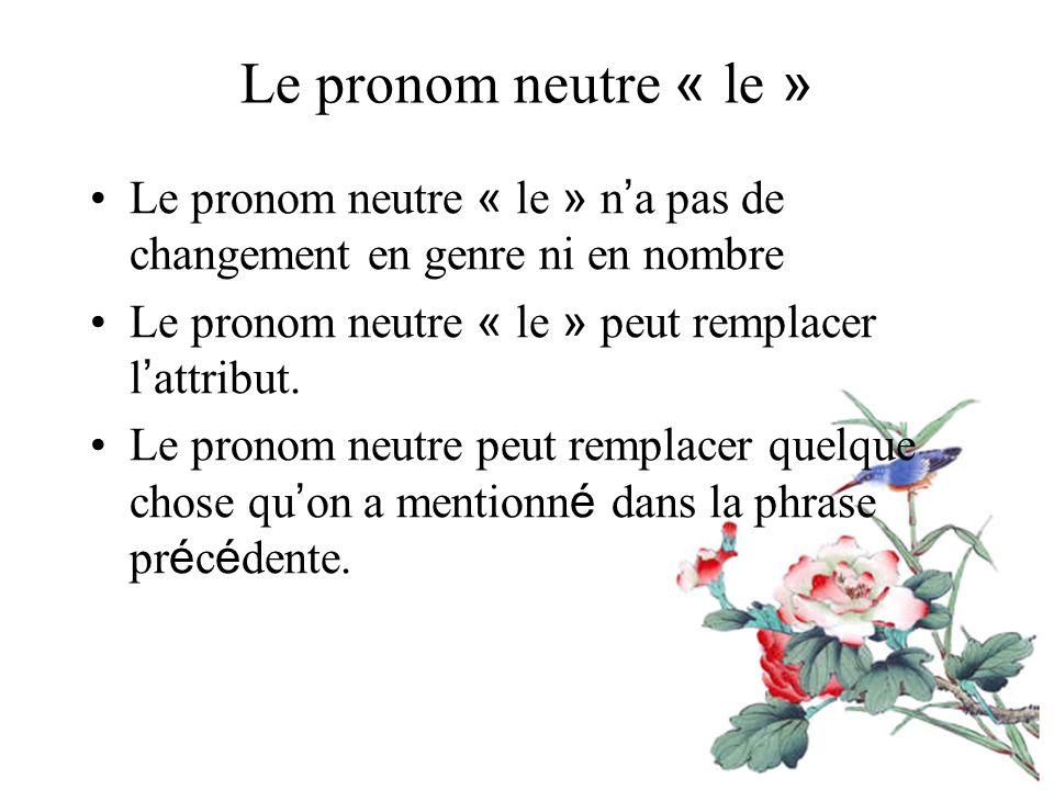Le pronom neutre « le » Le pronom neutre « le » n a pas de changement en genre ni en nombre Le pronom neutre « le » peut remplacer l attribut.