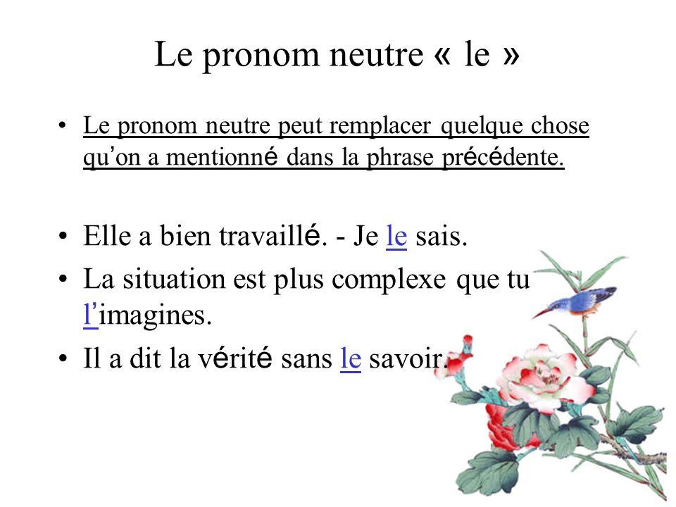 Le pronom neutre « le » Le pronom neutre peut remplacer quelque chose qu on a mentionn é dans la phrase pr é c é dente.