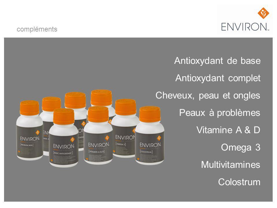 Antioxydant de base Antioxydant complet Cheveux, peau et ongles Peaux à problèmes Vitamine A & D Omega 3 Multivitamines Colostrum compléments
