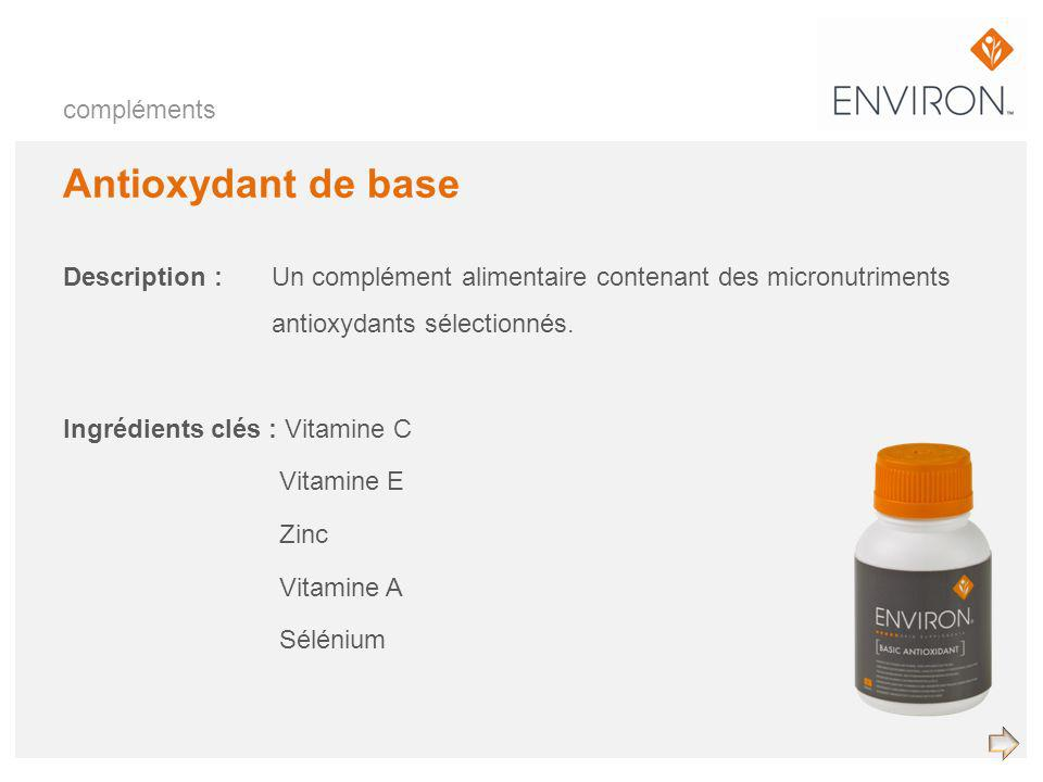 Antioxydant de base Description :Un complément alimentaire contenant des micronutriments antioxydants sélectionnés. Ingrédients clés : Vitamine C Vita