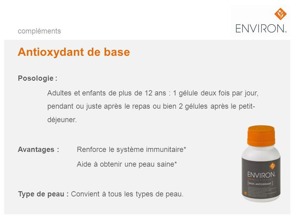 compléments Antioxydant de base Posologie : Adultes et enfants de plus de 12 ans : 1 gélule deux fois par jour, pendant ou juste après le repas ou bie