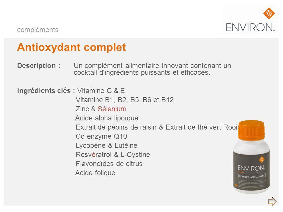 compléments Antioxydant complet Description :Un complément alimentaire innovant contenant un cocktail d'ingrédients puissants et efficaces. Ingrédient