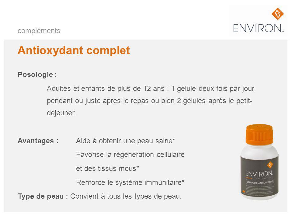 compléments Antioxydant complet Posologie : Adultes et enfants de plus de 12 ans : 1 gélule deux fois par jour, pendant ou juste après le repas ou bie