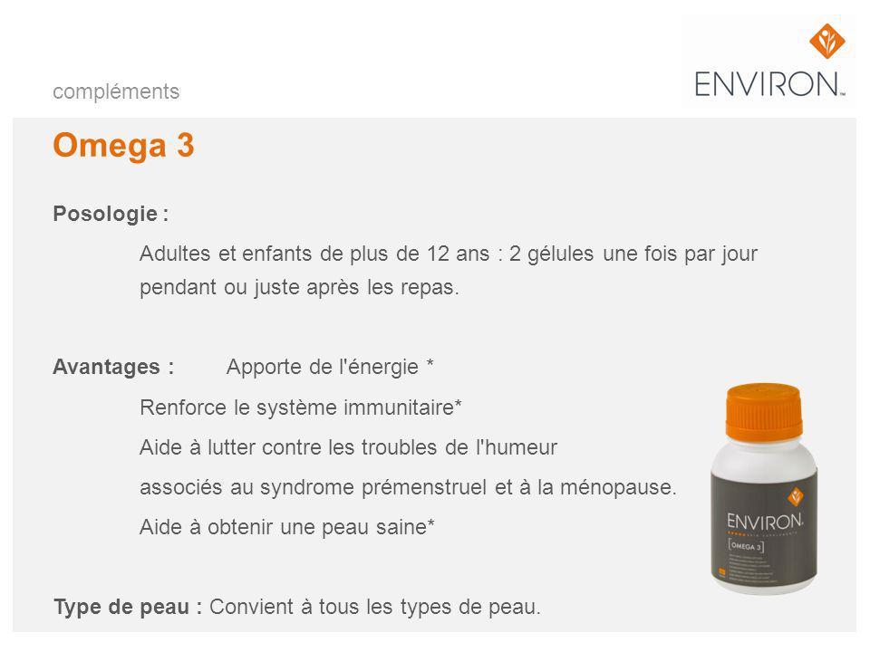 compléments Omega 3 Posologie : Adultes et enfants de plus de 12 ans : 2 gélules une fois par jour pendant ou juste après les repas. Avantages : Appor