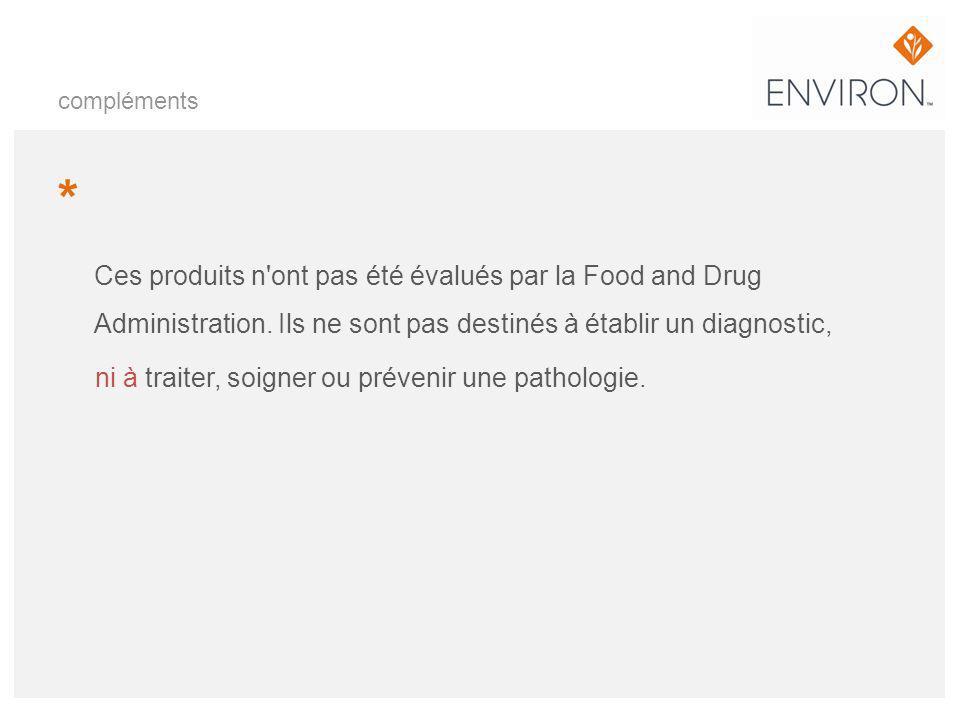 compléments * Ces produits n'ont pas été évalués par la Food and Drug Administration. Ils ne sont pas destinés à établir un diagnostic, ni à traiter,