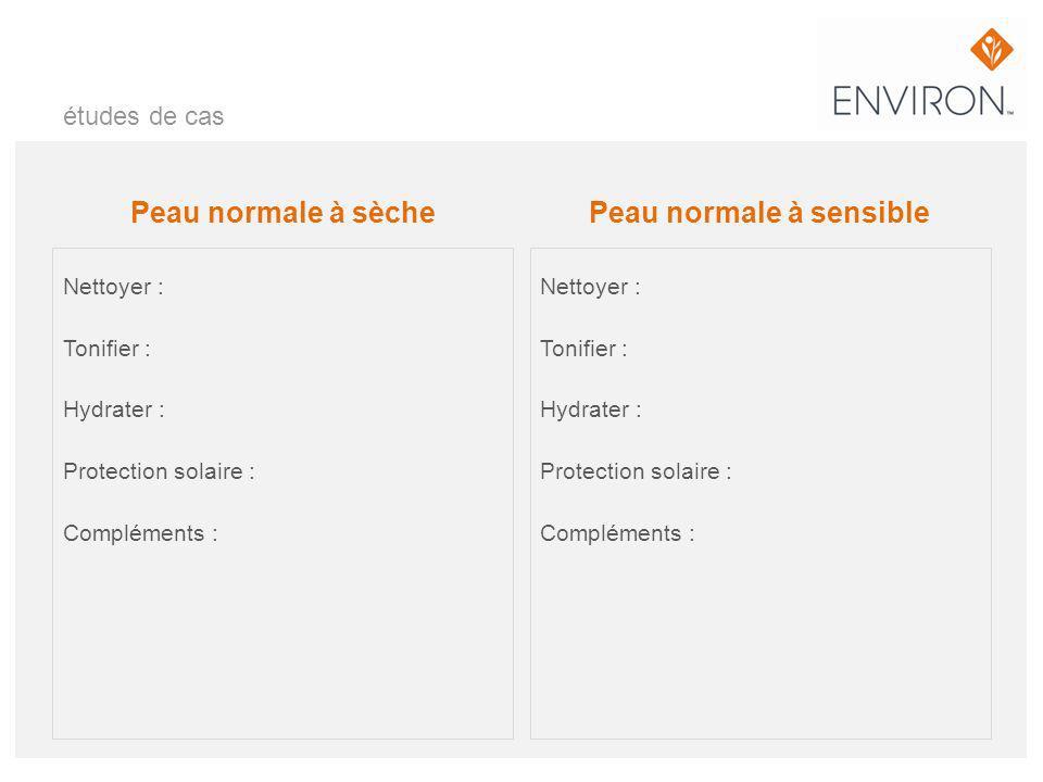 études de cas Peau normale à sèche Nettoyer : Tonifier : Hydrater : Protection solaire : Compléments : Peau normale à sensible Nettoyer : Tonifier : H