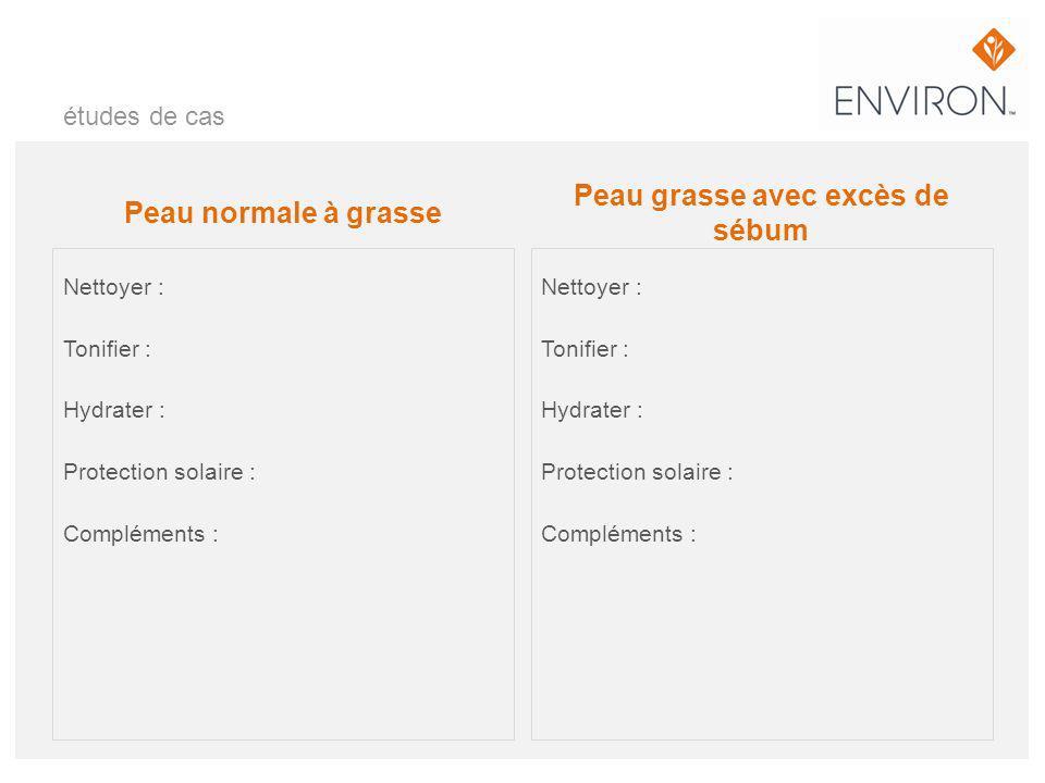études de cas Peau normale à grasse Nettoyer : Tonifier : Hydrater : Protection solaire : Compléments : Peau grasse avec excès de sébum Nettoyer : Ton