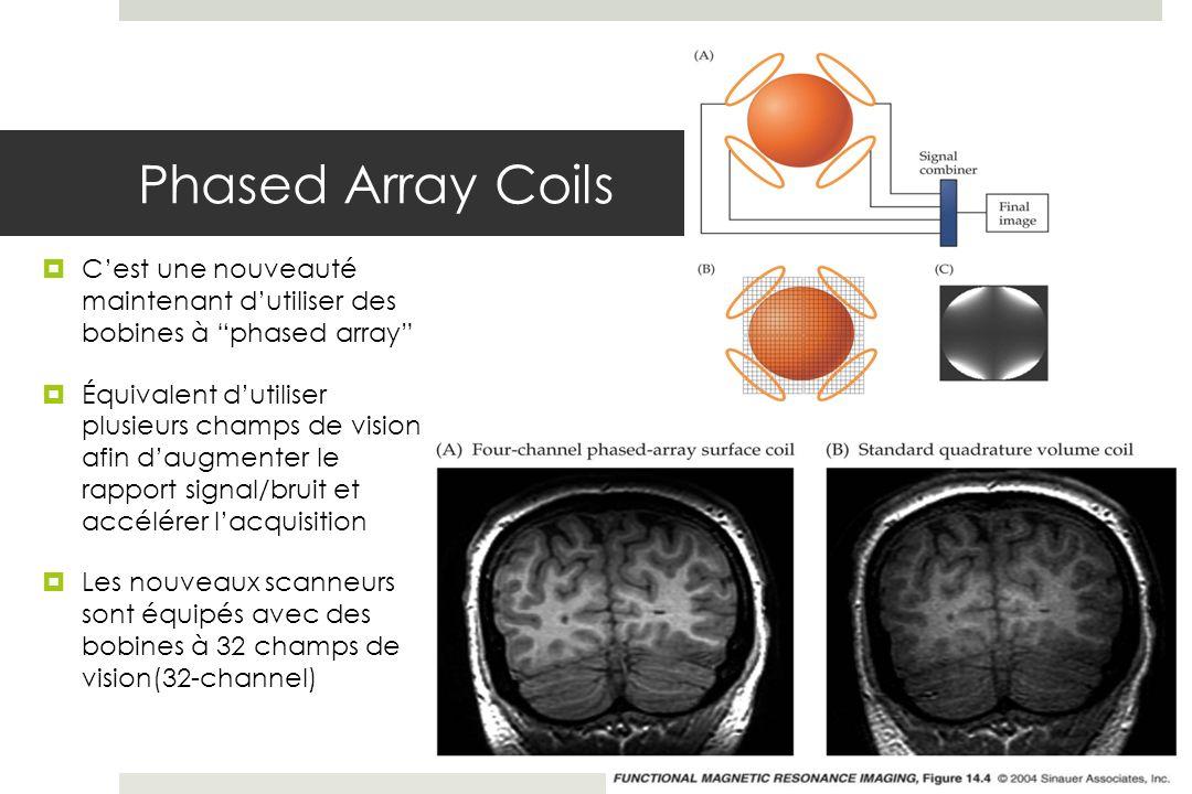 Phased Array Coils Cest une nouveauté maintenant dutiliser des bobines à phased array Équivalent dutiliser plusieurs champs de vision afin daugmenter le rapport signal/bruit et accélérer lacquisition Les nouveaux scanneurs sont équipés avec des bobines à 32 champs de vision(32-channel)