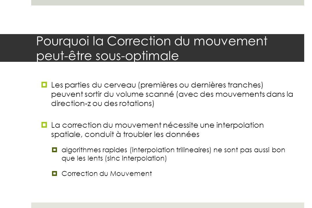 Pourquoi la Correction du mouvement peut-être sous-optimale Les parties du cerveau (premières ou dernières tranches) peuvent sortir du volume scanné (avec des mouvements dans la direction-z ou des rotations) La correction du mouvement nécessite une interpolation spatiale, conduit à troubler les données algorithmes rapides (interpolation trilineaires) ne sont pas aussi bon que les lents (sinc interpolation) Correction du Mouvement