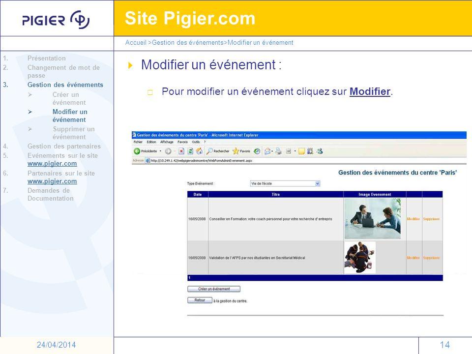 14 Site Pigier.com 14 24/04/2014 Modifier un événement : Pour modifier un événement cliquez sur Modifier. 1.Présentation 2.Changement de mot de passe