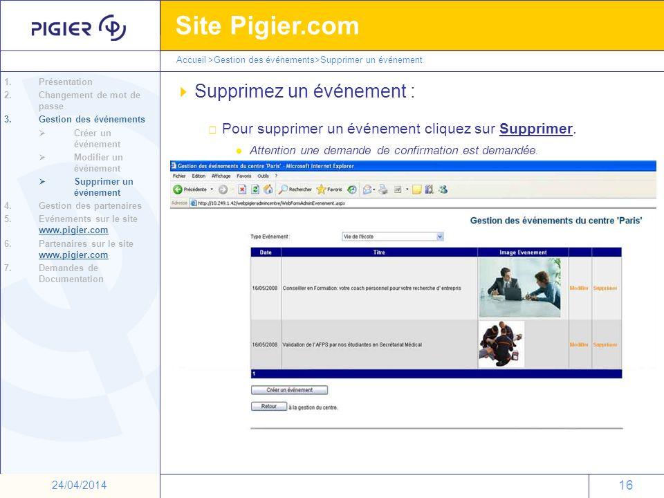 16 Site Pigier.com 16 24/04/2014 Supprimez un événement : Pour supprimer un événement cliquez sur Supprimer. l Attention une demande de confirmation e