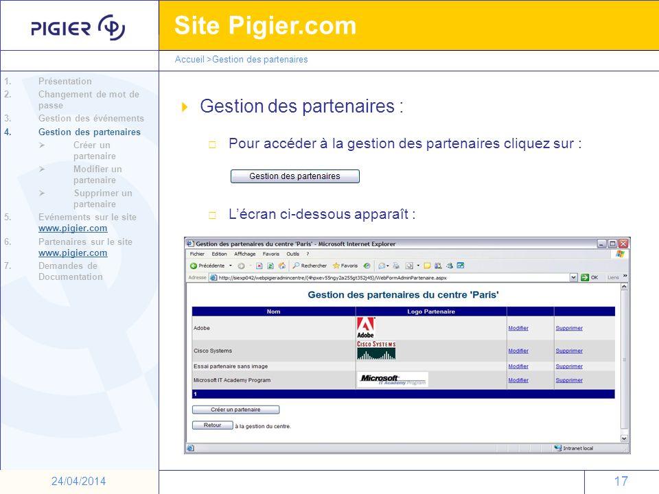 17 Site Pigier.com 17 24/04/2014 Gestion des partenaires : Pour accéder à la gestion des partenaires cliquez sur : Lécran ci-dessous apparaît : 1.Prés