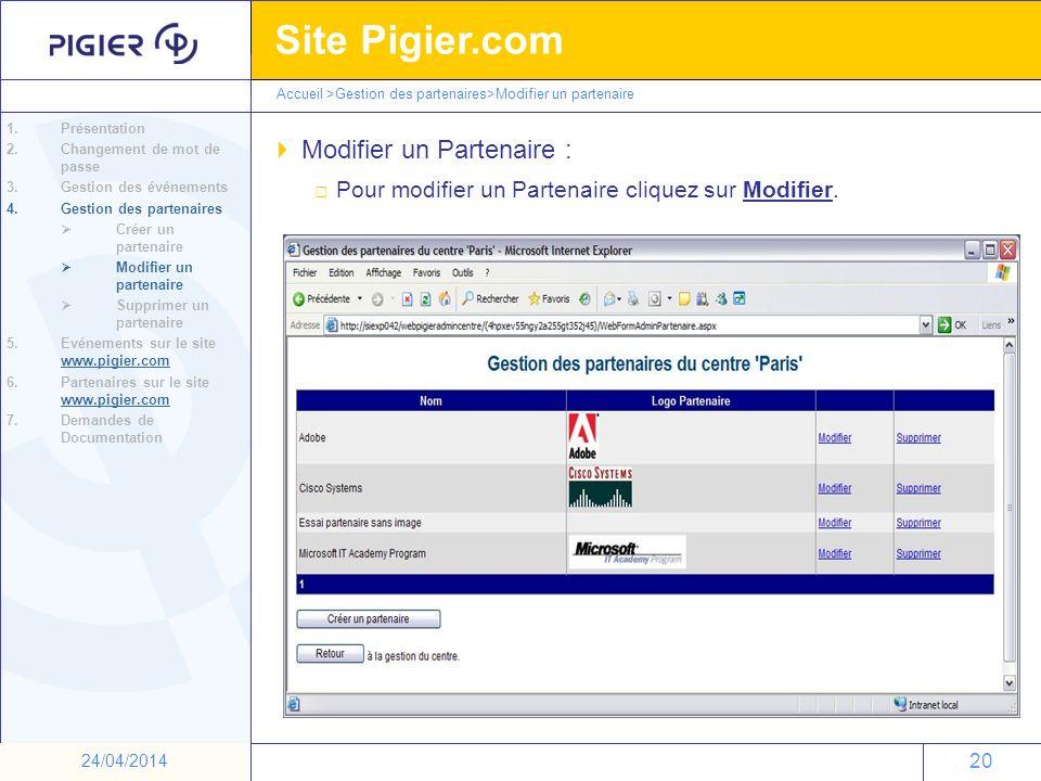 20 Site Pigier.com 20 24/04/2014 Modifier un Partenaire : 1.Présentation 2.Changement de mot de passe 3.Gestion des événements 4.Gestion des partenair